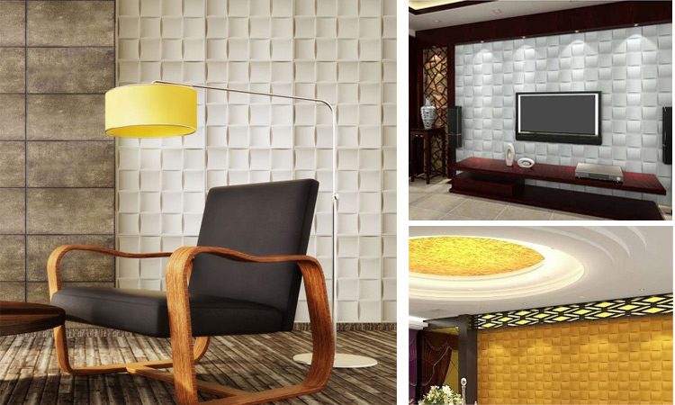Living Room Home Decor with Embossed 3D Wall Design
