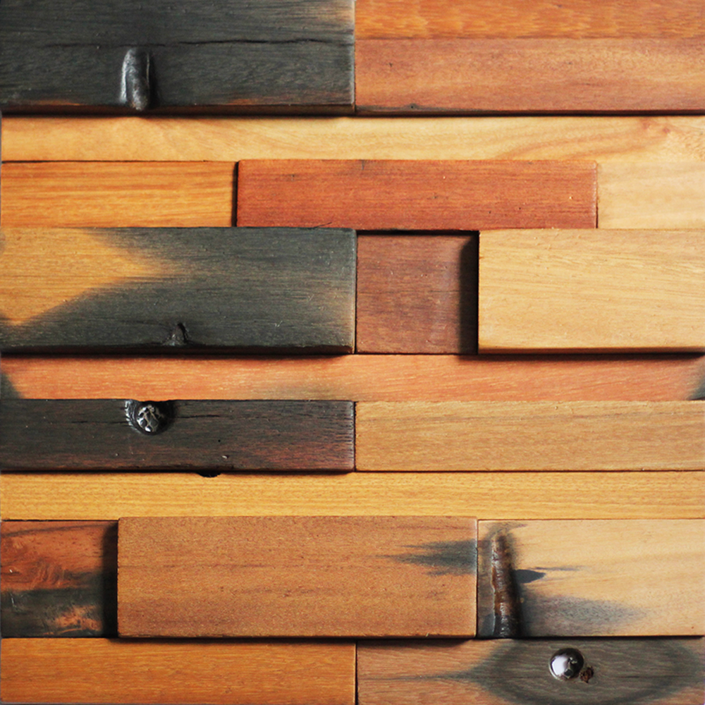 A15001 - Reclaimed Wood Wall Tile Ancient Boat Wood Panels, Set of 11