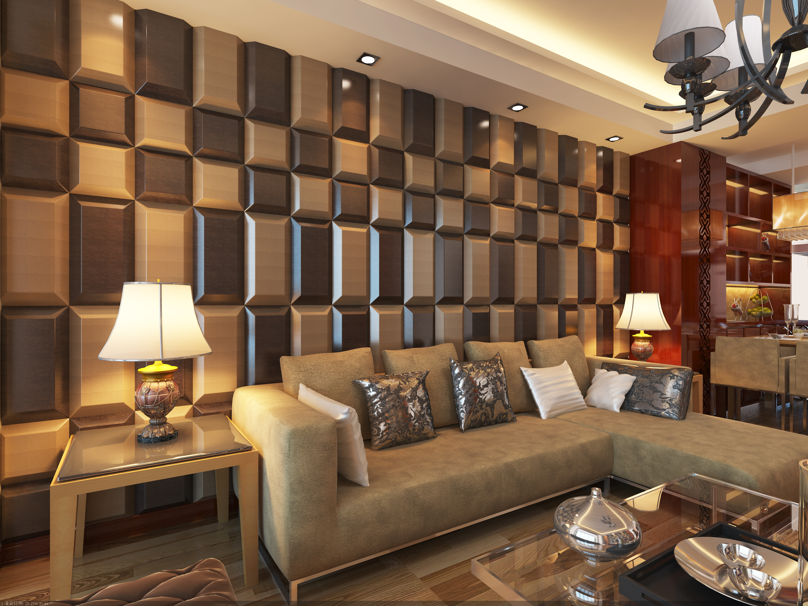 3D Leather Tiles In Living Room Wall Design