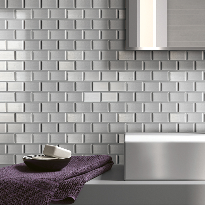 A17004 - Peel and Stick Kitchen Backsplash Wall Tiles, Silver Subway Set of 6
