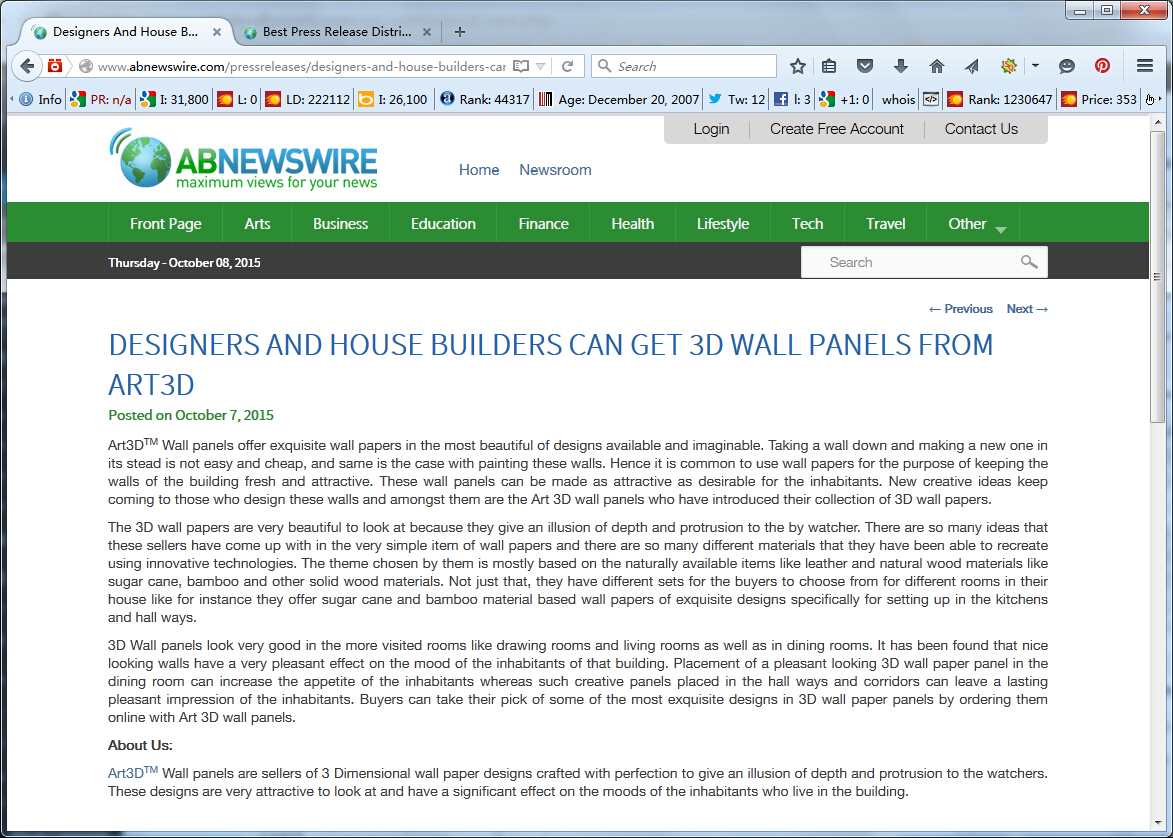Abnewswire.com Recommend Art3D Wall Panels