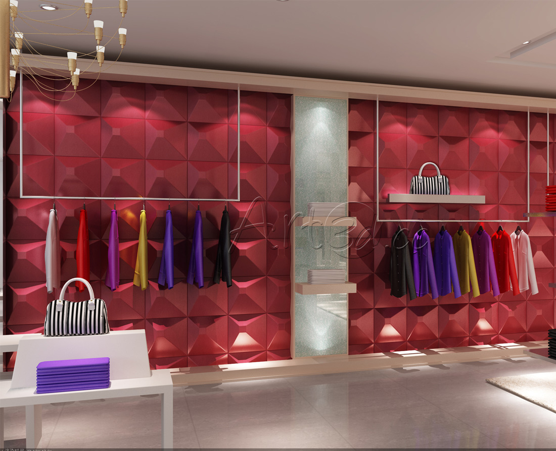 Clothing shop wall design clothing shop wall ideas for Interior wall design