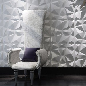 A21034   Decorative 3D Wall Panels Diamond Design, White, 12 Tiles 32 SF