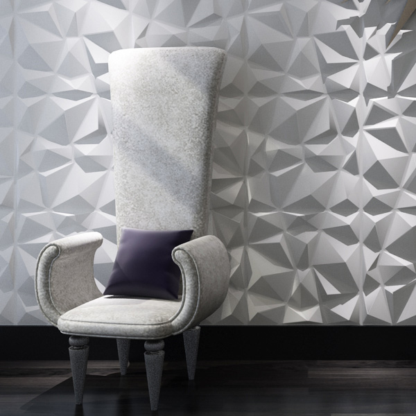 A21034 - Diamond 3D Textured Wall Panels 12 Pcs 3D Illuminative Wall Covering 32.29 Sq.Ft(3 m²)