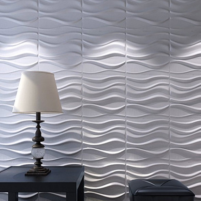 3D Wall Panels Plant Fiber White for Interior Decor 12 Pcs 32 Sq.Ft
