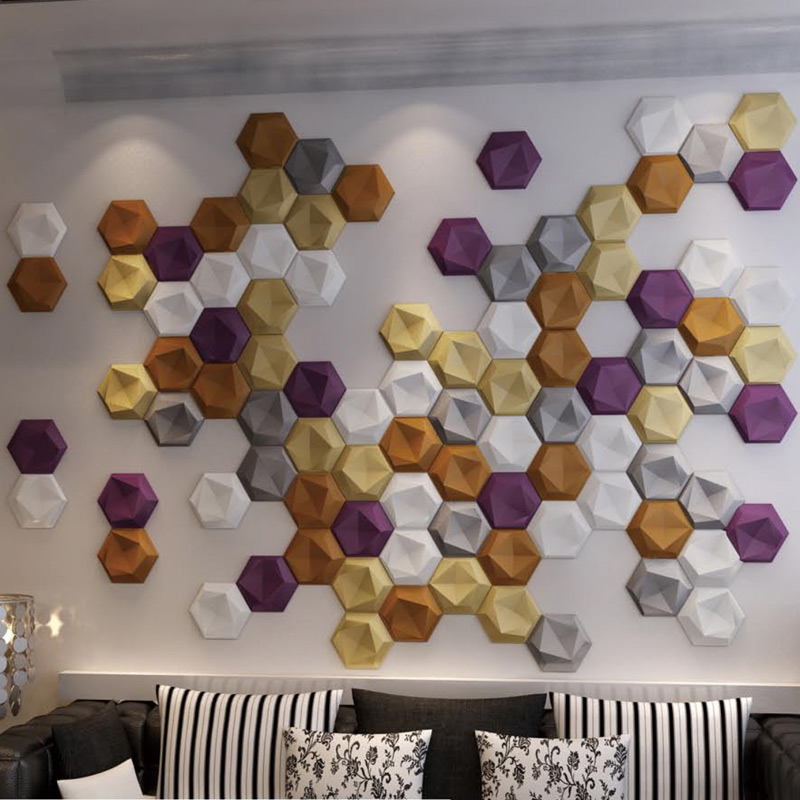 A12024 - Creative 3D Leather Panel Hexagon Faux Leather Mosaic (1 Piece)