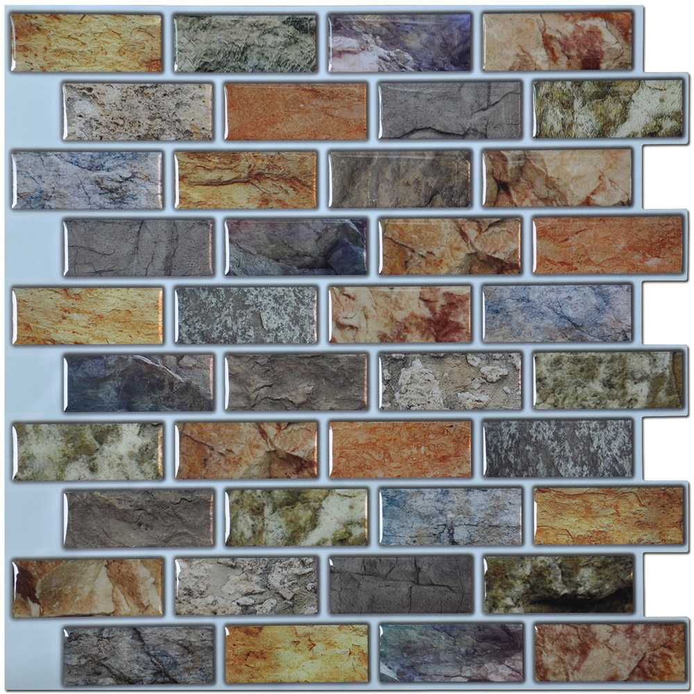 Self adhesive mosaic tile backsplash color subway tile set of 6 a17014p6 art3d peel and stick kitchen backsplash tile 12in x 12in pack of 6 sheets dailygadgetfo Gallery