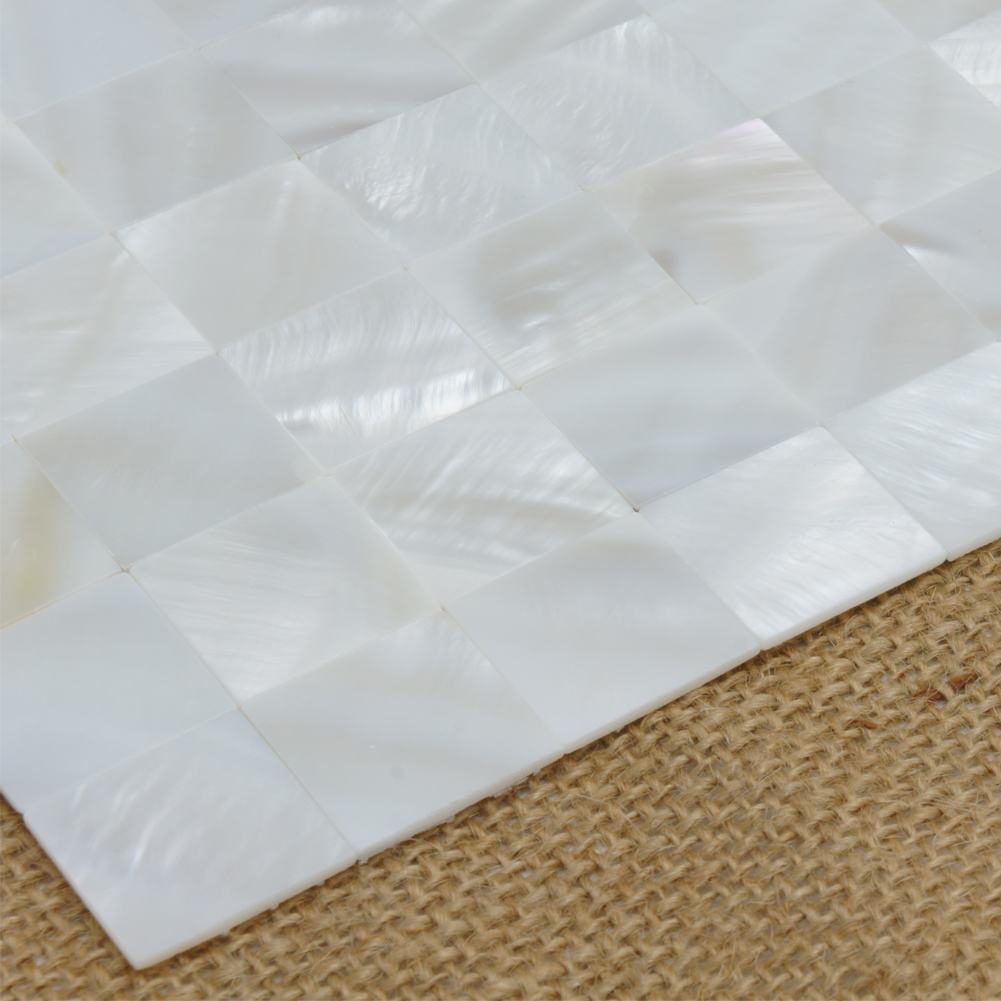 White Square Seamless Pearl Shell Tile