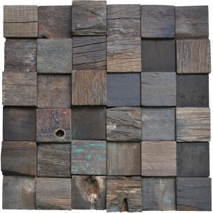 A15017 - Reclaimed Wood Wall Tiles Accent Wall Square Pattern 11 Panels 10.66 Sq.Ft