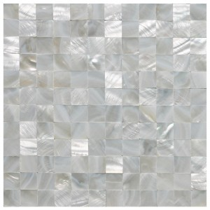 A18011 - White Square Seamless Pearl Shell Tile Mesh Backing 10 Panels 9.7 Sq.Ft