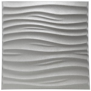 A12000 - Leather 3D Textured Wall Covering PU Material Panels Wave Wall 23.6x23.6 In (1 Piece)