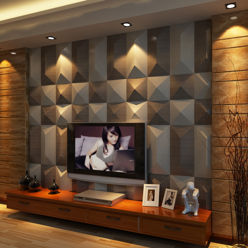 Leather Look Wall Covering 3D Leather Wall Tile 11.8x11.8In