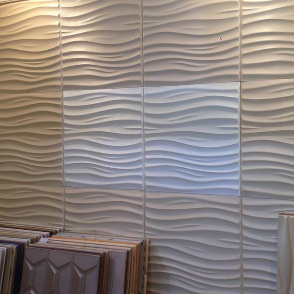 Leather 3d textured wall covering pu material panels wave wall for 3d wall covering