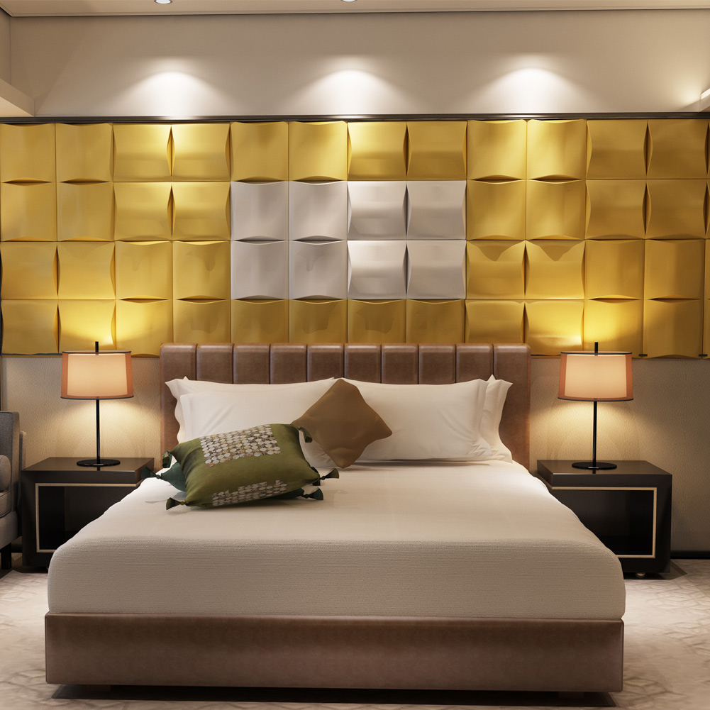 Gentil A12022   Leatherlike Wall Tile 3D Effect Soft Wall Design 23.6x23.6In(1  Piece)