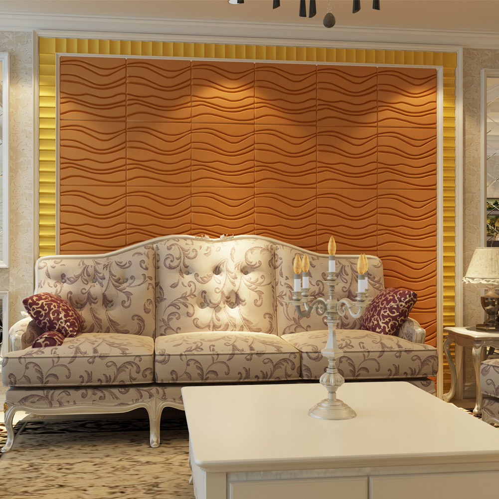 A12023- Modern Wave Leather Paneling Textured Soft Wall Tile 15.7x15.7In (1 Piece)