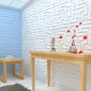 A21051 - Paintable 3D Texture Wall Panel Maze Design, White, 12 Tiles 32 SF