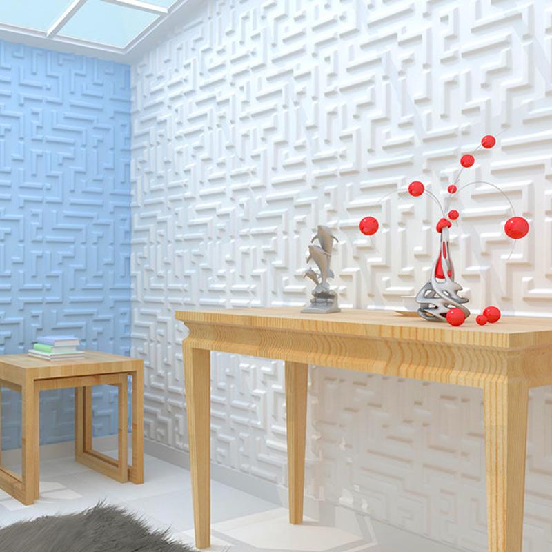 A21051 - Paintable 3D Texture Wall Panel Maze Design, White, 12 Tiles 32 SF