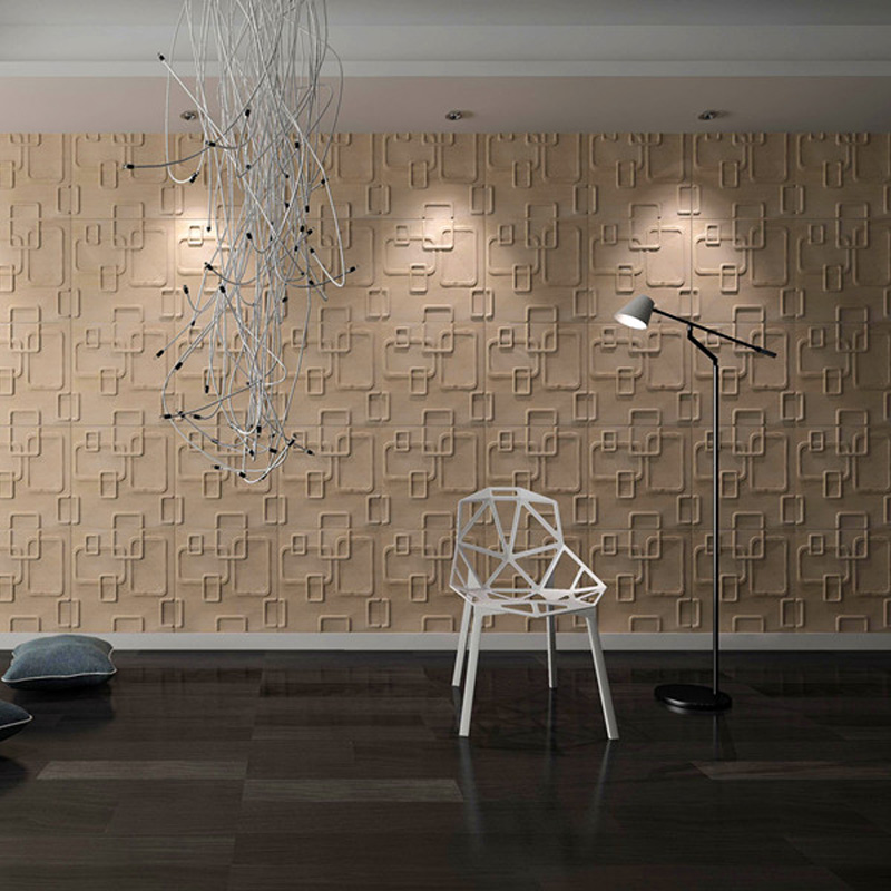 A21053   Plant Fiber 3D Wall Décor Material White 1 Box 12 Panels 32 Sq.Ft