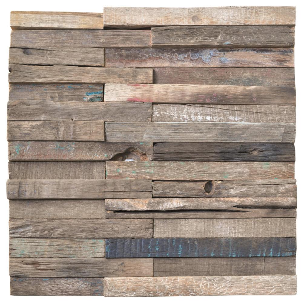 A15018 - Reclaimed Wood Mosaic Rustic Panels 11 Tiles per BOX 10.66 Sq.Ft - Reclaimed Wood Mosaic Rustic Panels 11 Tiles Per BOX 10.66 Sq.Ft
