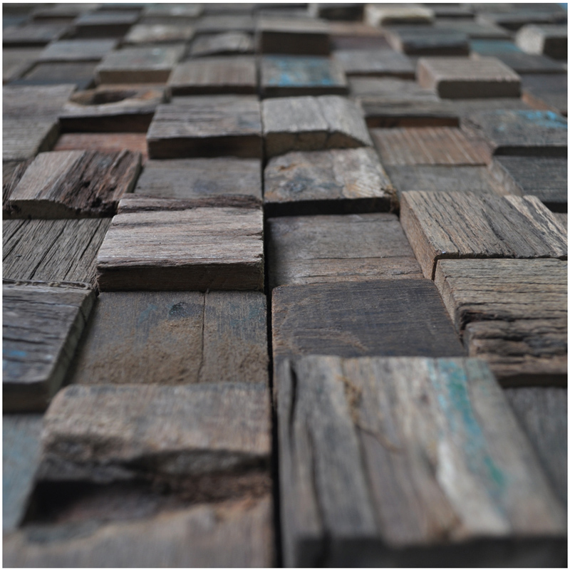 A15017 - Reclaimed Wood Wall Tiles Accent Wall Square Pattern 11 Panels  10.66 Sq.Ft - Reclaimed Wood Wall Tiles Accent Wall Square 11 Panels 10.66 Sq.Ft
