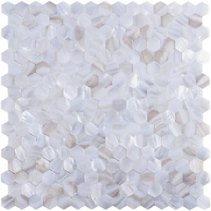 A18007 - River Bed Nature Pearl Shell Mosaic, Hexagon Seamless, 12