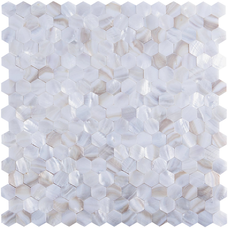 River Bed Nature Pearl Shell Mosaic Hexagon Seamless 12