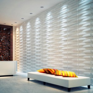 A21041 - Three D wall Panels Wave Paintable Paneling, White, 12 Tiles 32 SF