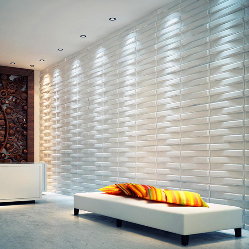 A21041   Three D Wall Panels Wave Paintable Paneling, White, 12 Tiles 32 SF