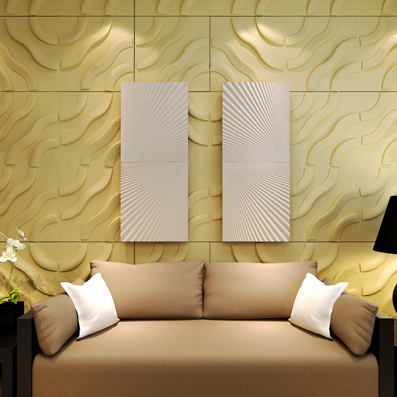White Dimensional Wall Decor : Dimensional wall tiles plant fiber material set of