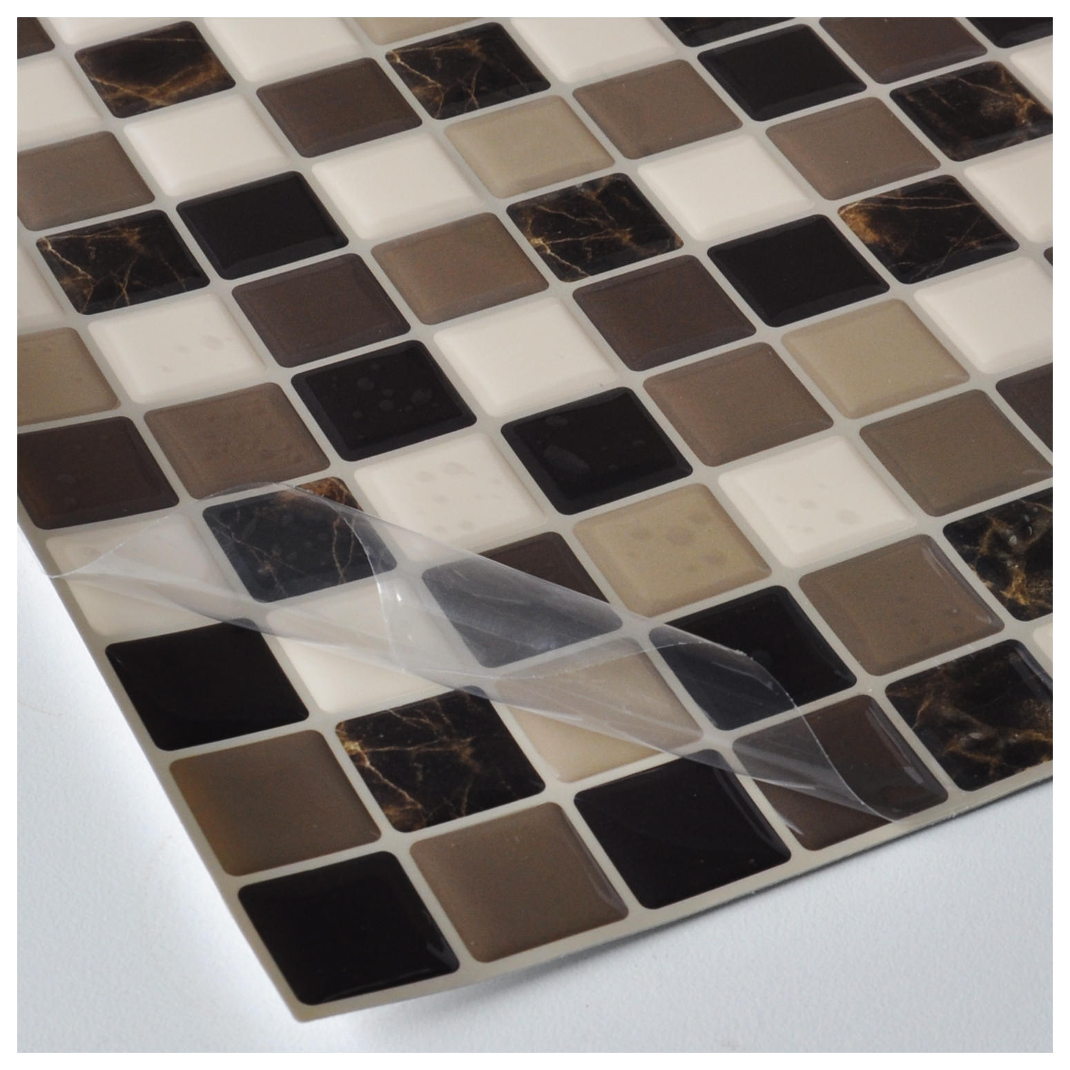 Diy vinyl tile backsplashes for kitchen marble square for Vinyl tiles for kitchen