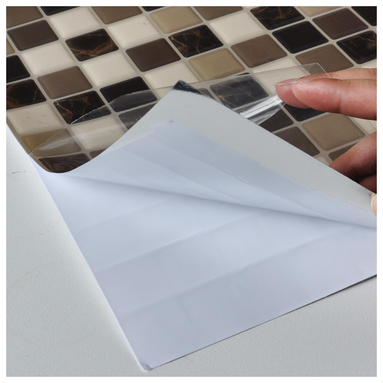 Diy Vinyl Tile Backsplashes For Kitchen Marble Square Set Of 6