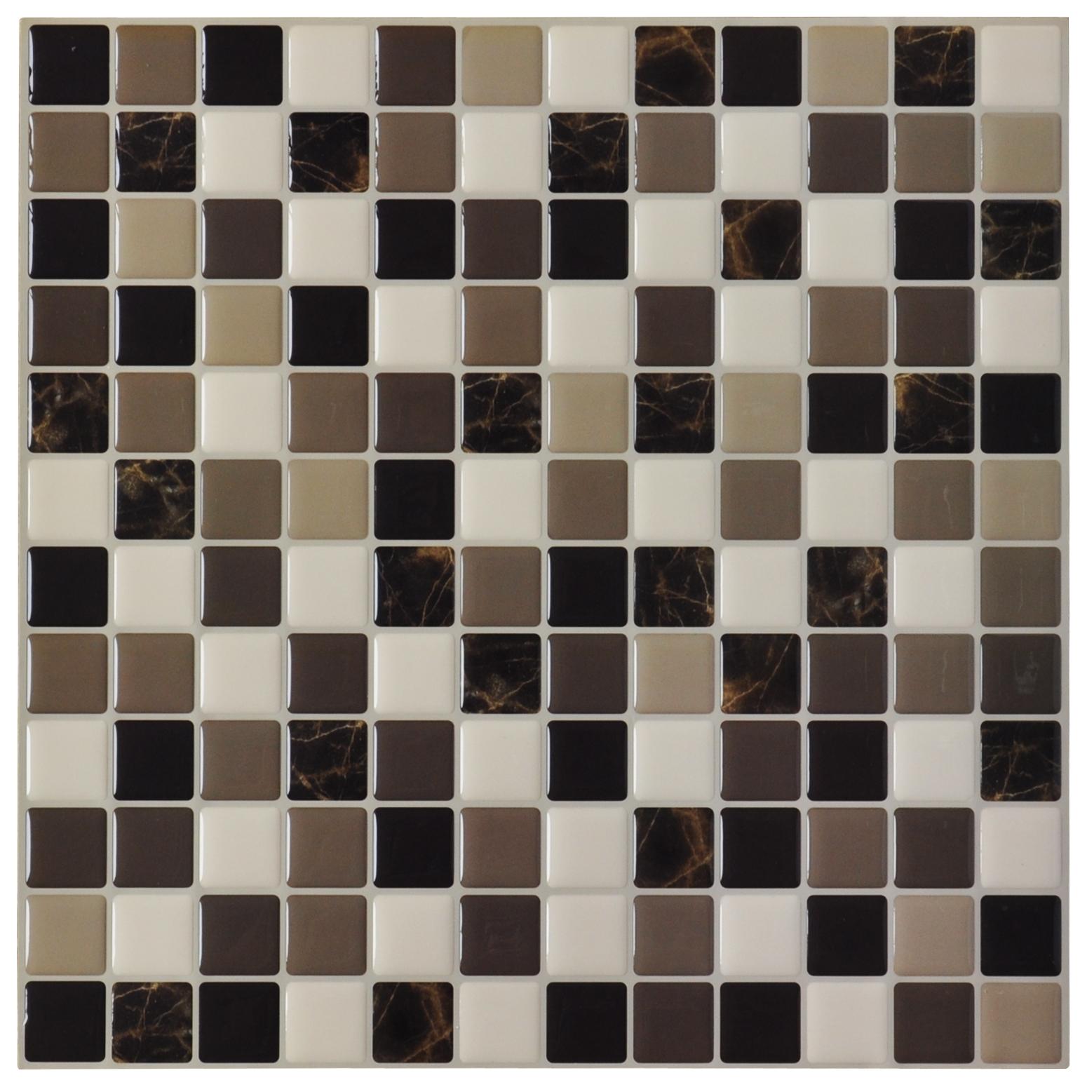 DIY Vinyl Tile Backsplash Adhesive Wall Covering for Kitchen, Bathroom 6 Tiles 5.8 Sq.Ft
