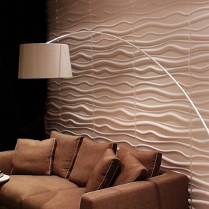 A21062 - Paintable Waves 3D Wall Panels Plant Fiber Off-white (Set of 6) 32 Sq.Ft