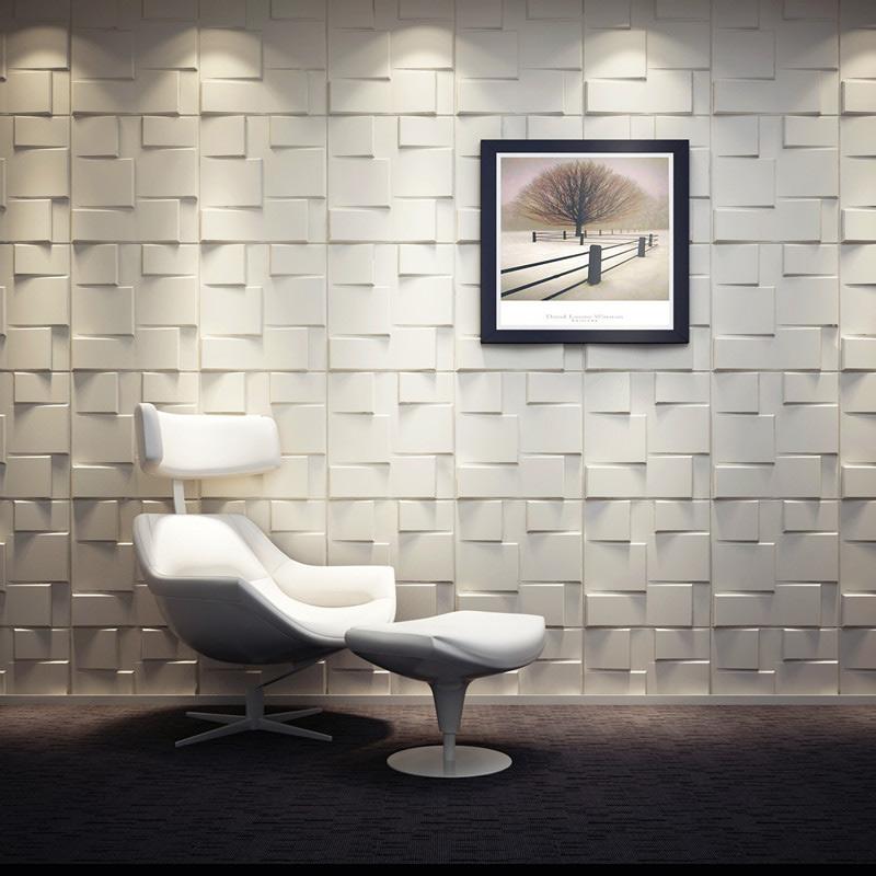 A21058 - Plant Fiber Wainscot 3D Wall Panels Matt-white, 12 Tiles 32 SF