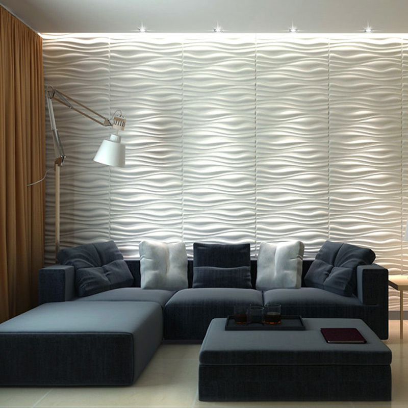 Decorative 3d wall panels 24 6 x31 5 wave board 6 tiles for Living room 3d tiles