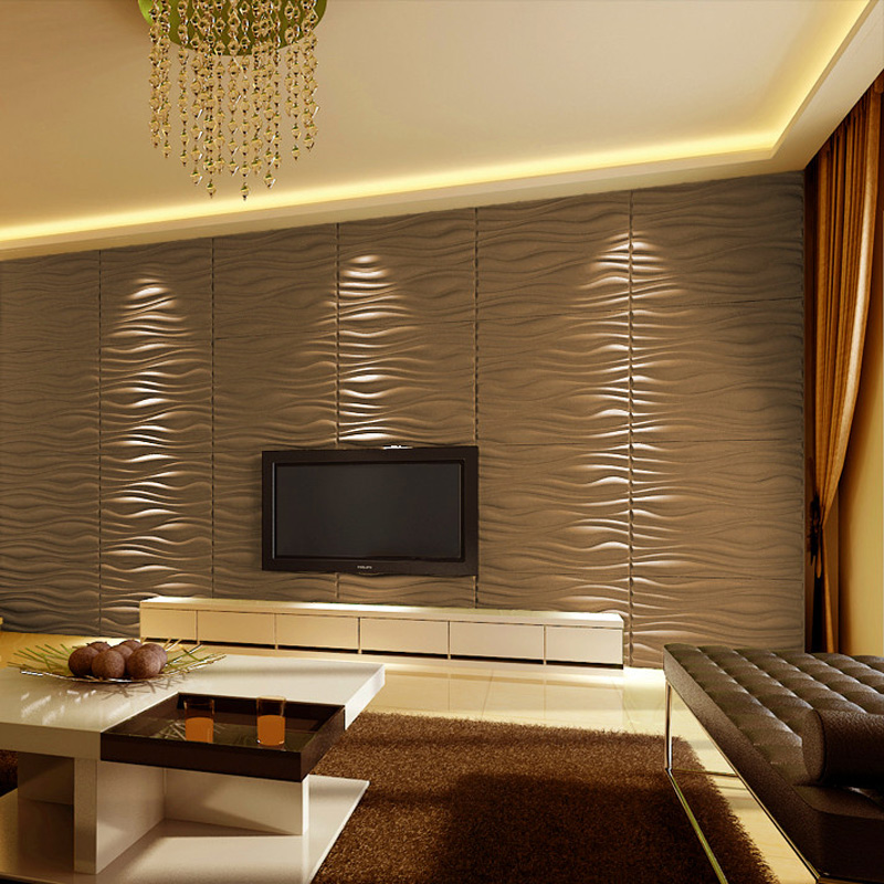 "Decorative 3D Wall Panels 24.6""x31.5"" Wave Board, 6 Tiles"