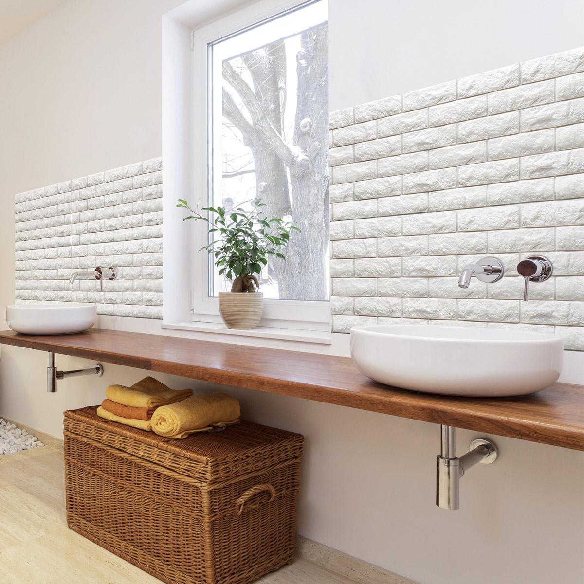 Peel & Stick 3D Wall Panels Foam Block Brick Design 10 Pics 48.4 Sq.Ft
