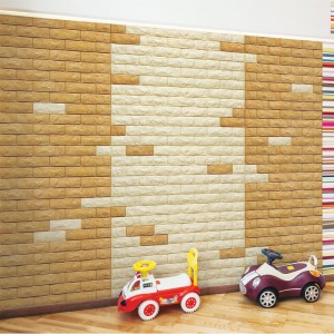 A06502 Peel & Stick 3D Environmental PE Wall Brick 10 Sheets 48.4 Sq.Ft