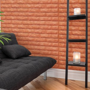 A06505 Brick Peel & Stick Wallpaper Foam Block 3d Design 10 Sheets 48.4 Sq.Ft