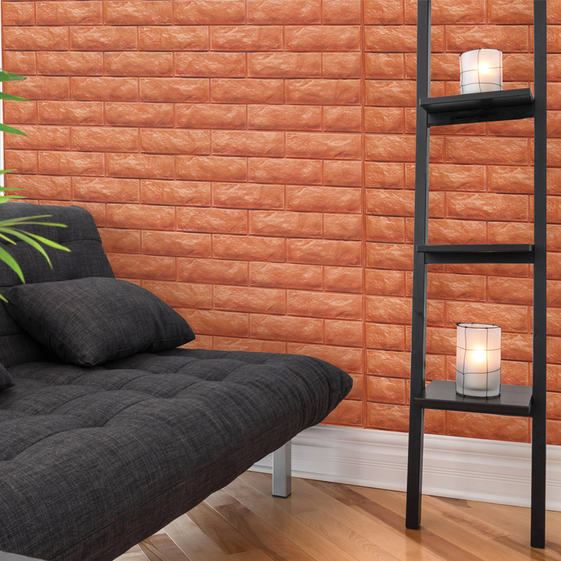A06505 Brick Peel Stick Wallpaper Foam Block 3d Design 10 Sheets 484 SqFt