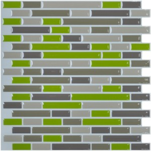 Peel and Stick Wall Smart Mosaic, Kitchen Backsplash Peel & Stick Tile, Smart Brick, Green