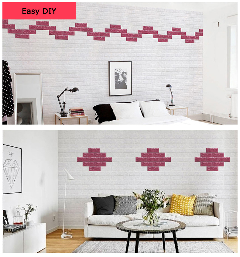 2 6 X 2 3 Peel And Stick 3d Wall Panels White Brick Wallpaper For Tv Walls Sofa Background Wall Decor
