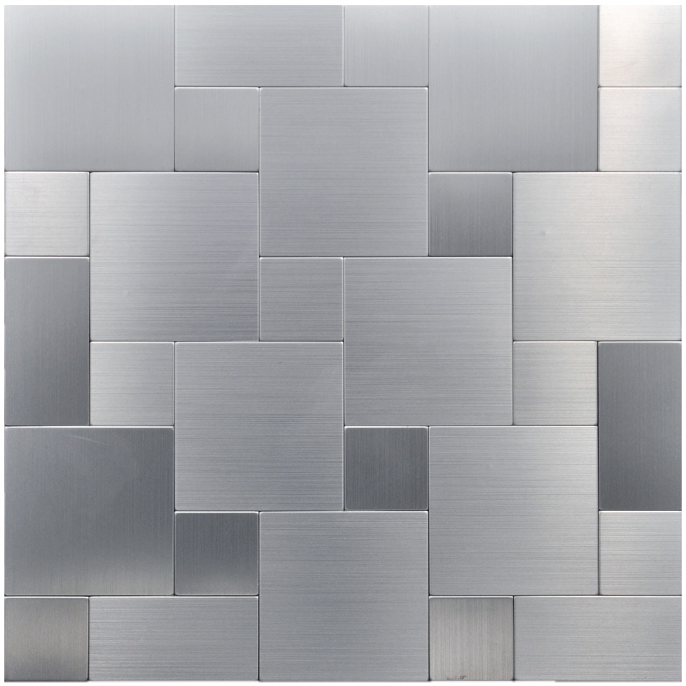 Metallic backsplash tiles peel stick