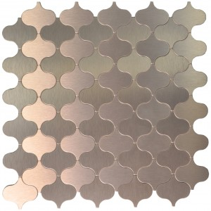 A16005 - 10 Sheets Peel & Stick Aluminum Metal Mosaic Tile Bronze Lantern Style 12x12In