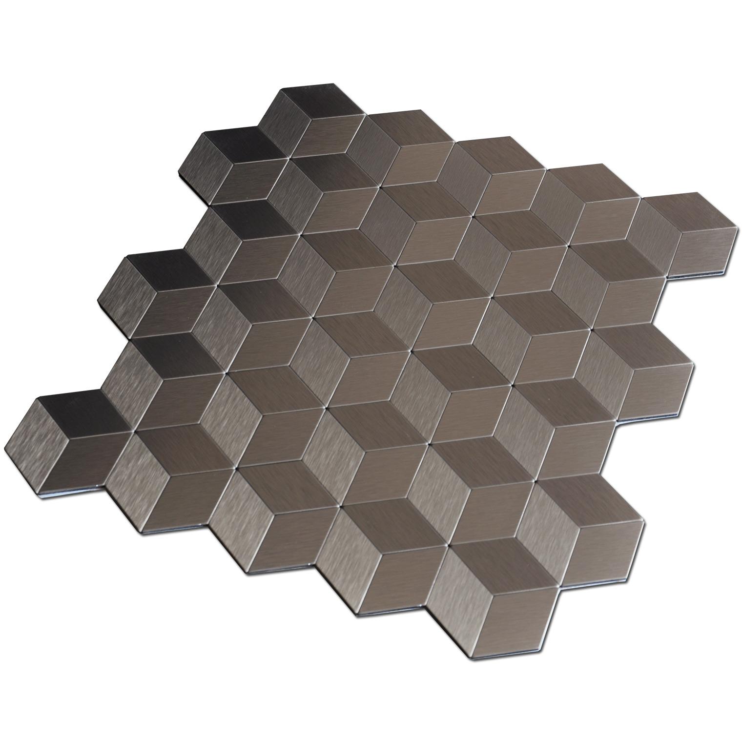 Peel & Stick Metal Backsplash for Kitchen Cubic Copper Set of 10