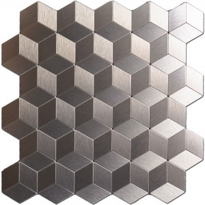 A16062 - Peel N Stick Metal Decorative Tile 10 Sheets Bronze Cube Mosaic 12x12In