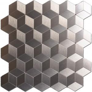 A16062 - Peel & Stick Metal Backsplash for Kitchen, Cubic Copper, Set of 10
