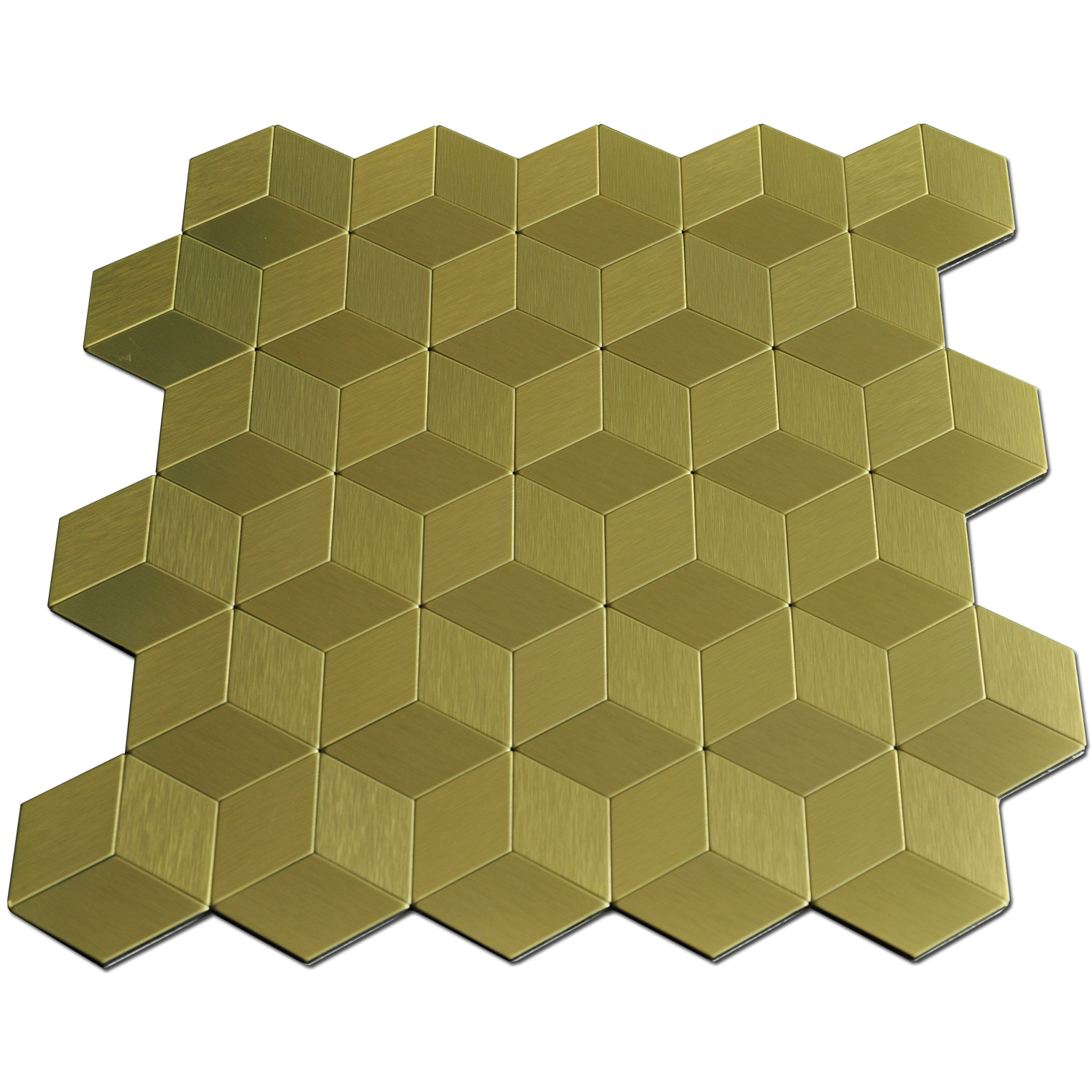 12x12In Gold Cube Metal Decorative Tile Peel N Stick Mosaic 10 Sheets
