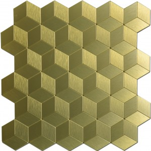 A16063 - 12x12In Gold Cube Metal Decorative Tile Peel N Stick Mosaic 10 Sheets
