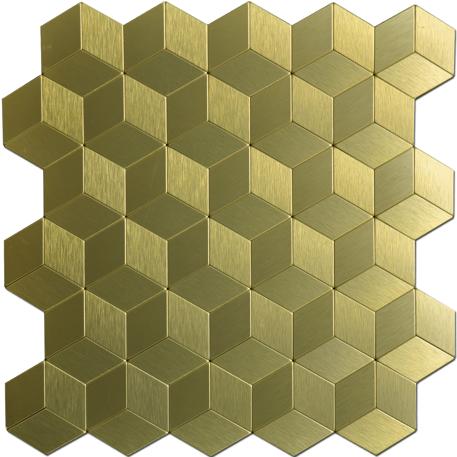a16063 12x12in gold cube metal decorative tile peel n stick mosaic 10 sheets - Decorative Metal Sheets